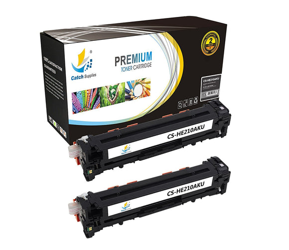 Catch Supplies Replacement HP CF210A Standard Yield Laser Printer Toner Cartridges - Two Pack