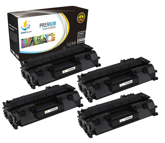 Catch Supplies Replacement HP CE505A Standard Yield Laser Printer Toner Cartridges - Four Pack