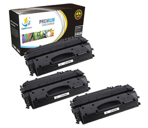 Catch Supplies Replacement HP CE505X High Yield Black Toner Cartridge Laser Printer Toner Cartridges - Three Pack