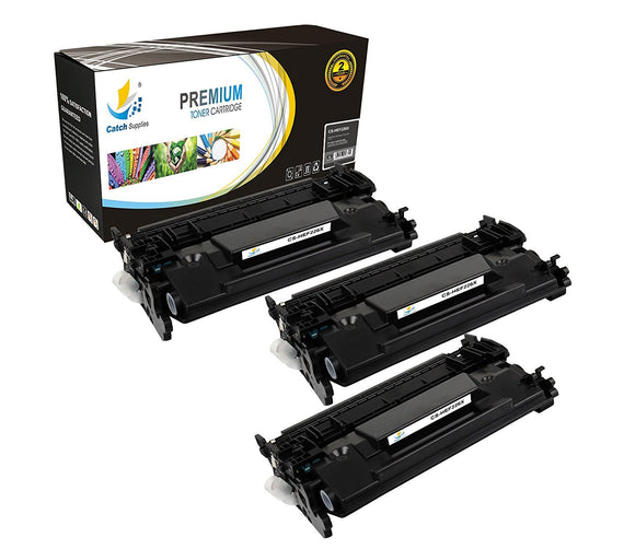 Catch Supplies Replacement HP CF226X High Yield Black Toner Cartridge Laser Printer Toner Cartridges - Three Pack
