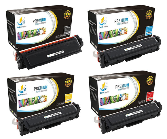 Catch Supplies Replacement HP CF410X, CF411X, CF412X, CF413X High Yield Toner Cartridges Laser Printer Toner Cartridges - Four Pack