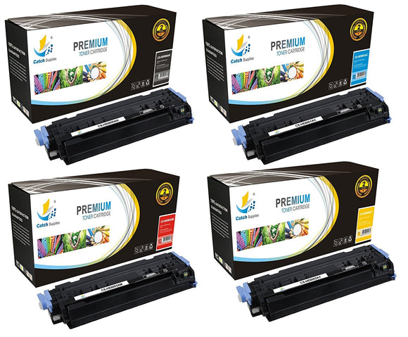 Catch Supplies Replacement HP Q6000A,Q6001A,Q6002A,Q6003A Standard Yield Laser Printer Toner Cartridges - Four Pack