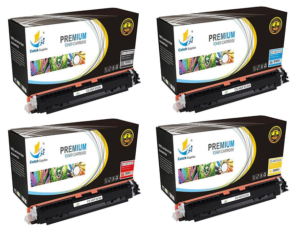 Catch Supplies Replacement HP CE310A, CE311A, CE312A, CE313A Standard Yield Laser Printer Toner Cartridges - Four Pack