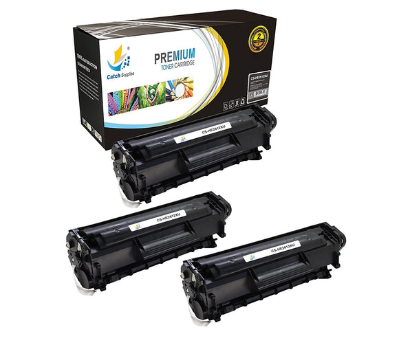 Catch Supplies Replacement HP Q2612X High Yield Black Toner Cartridge Laser Printer Toner Cartridges - Three Pack