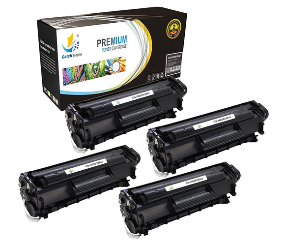 Catch Supplies Replacement HP Q2612A Standard Yield Laser Printer Toner Cartridges - Four Pack