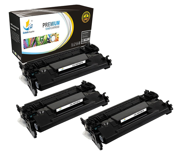 Catch Supplies Replacement HP CF287A Standard Yield Black Toner Cartridge Laser Printer Toner Cartridges - Three Pack