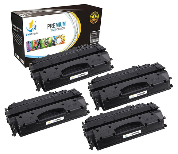 Catch Supplies Replacement HP CE505X High Yield Black Toner Cartridge Laser Printer Toner Cartridges - Four Pack