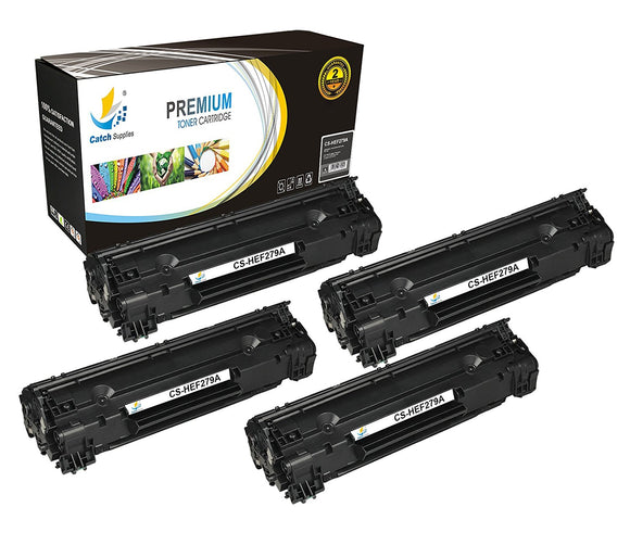 Catch Supplies Replacement HP CF279A Standard Yield Black Toner Cartridge Laser Printer Toner Cartridges - Four Pack
