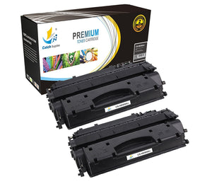 Catch Supplies Replacement HP CE505X Jumbo Yield Black Toner Cartridge Laser Printer Toner Cartridges - Two Pack