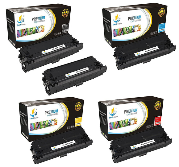 Catch Supplies Replacement HP CF360X, CF361X, CF362X, CF363X High Yield Toner Cartridges Laser Printer Toner Cartridges - Five Pack