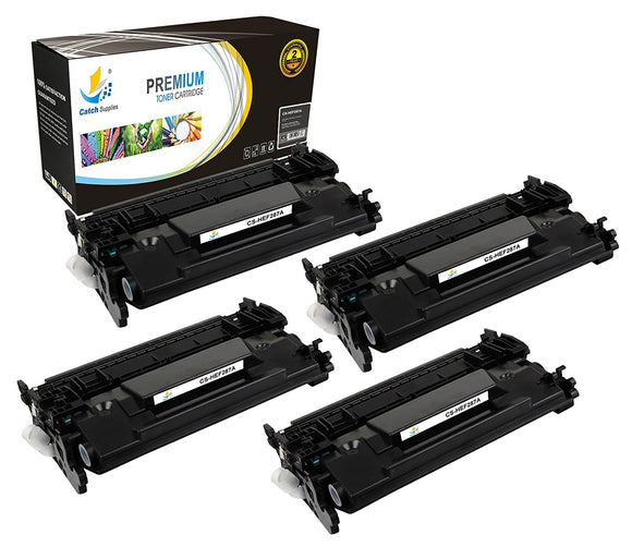 Catch Supplies Replacement HP CF287A Standard Yield Black Toner Cartridge Laser Printer Toner Cartridges - Four Pack