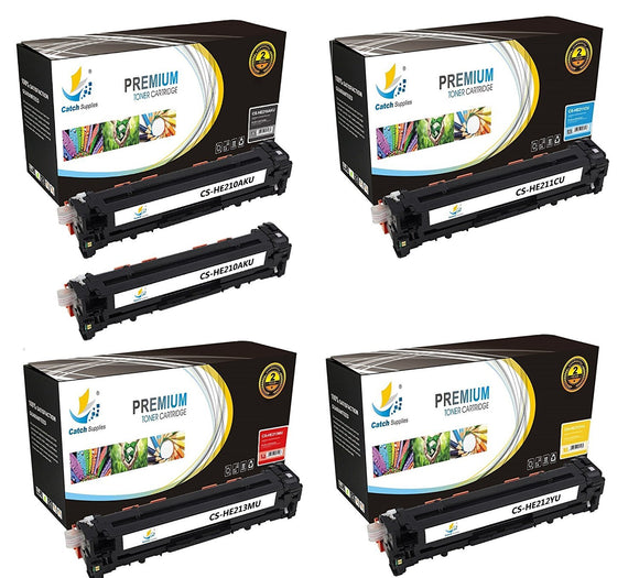 Catch Supplies Replacement HP CF210A,CF211A,CF212A,CF213A Standard Yield Laser Printer Toner Cartridges - Five Pack