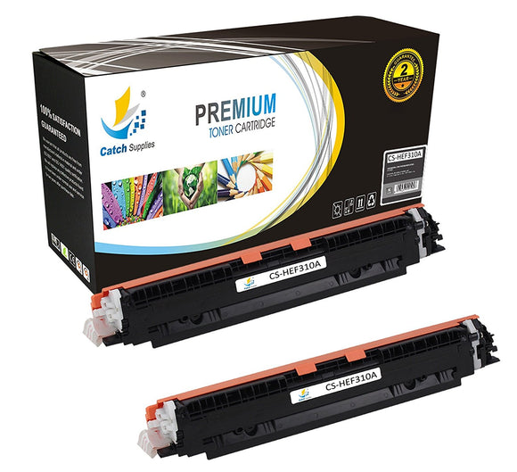 Catch Supplies Replacement HP CE310A Standard Yield Laser Printer Toner Cartridges - Two Pack