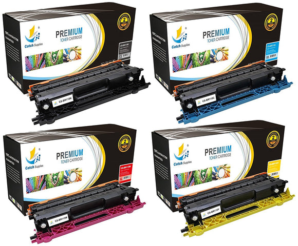 Catch Supplies Replacement Brother TN-115BK, TN-115C, TN-115M, TN-115Y Standard Yield Laser Printer Toner Cartridges - Four Pack