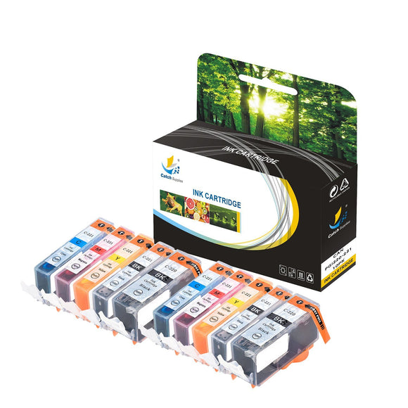 Catch Supplies Replacement Canon PGI-220 CLI-221 Standard Yield Ink Cartridge - 10 Pack