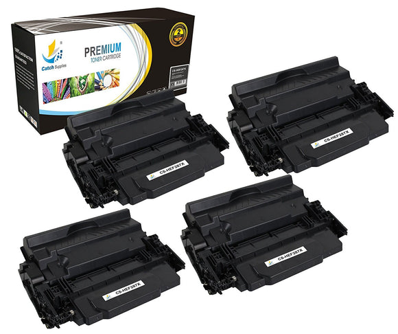 Catch Supplies Replacement HP CF287X High Yield Black Toner Cartridge Laser Printer Toner Cartridges - Four Pack