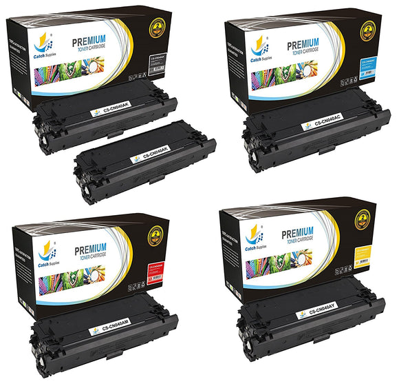 Catch Supplies Replacement Canon 0461C001, 0459C001, 0457C001, 0455C001 Standard Yield Toner Cartridge - 5 Pack