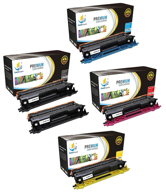 Catch Supplies Replacement Brother TN-115BK, TN-115C, TN-115M, TN-115Y Standard Yield Laser Printer Toner Cartridges - Five Pack