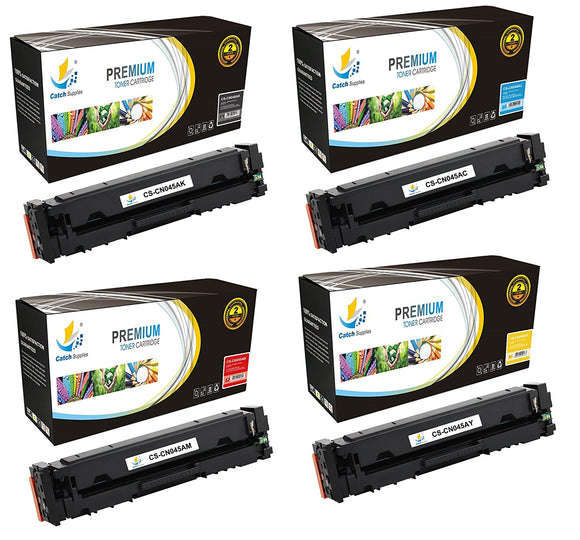 Catch Supplies Replacement Canon 045K, 045C, 045M, 045Y  Standard Yield Toner Cartridge - 4 Pack