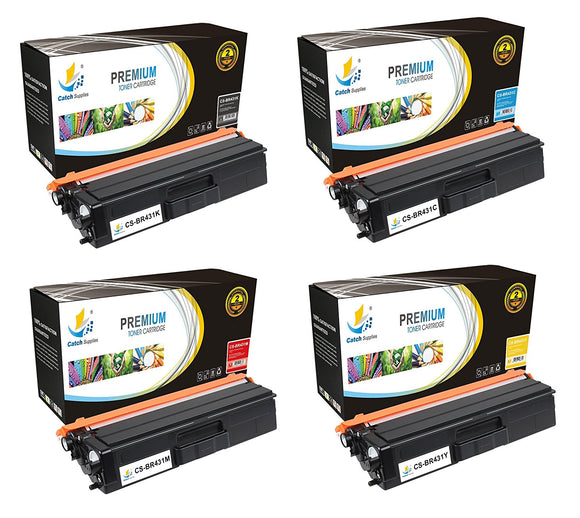 Catch Supplies Replacement Brother TN431K, TN431C, TN431M, TN431Y Standard Yield Laser Printer Toner Cartridges - Four Pack