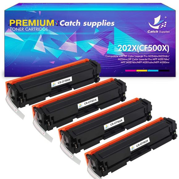 Catch Supplies Compatible Toner Cartridge Replacement for HP 202A 202X HP CF500A CF500X M281fdw Toner HP Laserjet Pro MFP M281fdw M254dw M281cdw M281dw M254 M281 M281fdn M281cdw M280nw Printer Ink 4PK