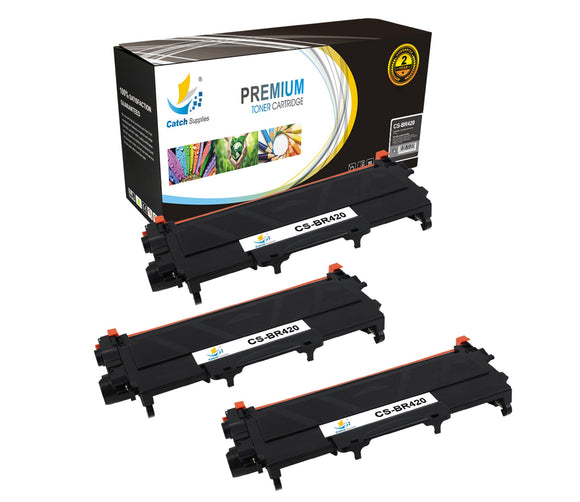 Catch Supplies Replacement Brother TN-420 Standard Yield Laser Printer Toner Cartridges - Three Pack