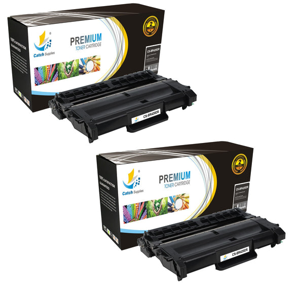 Catch Supplies Replacement Brother DR-420 Compatible Drum Unit Laser Printer Toner Cartridges - Two Pack