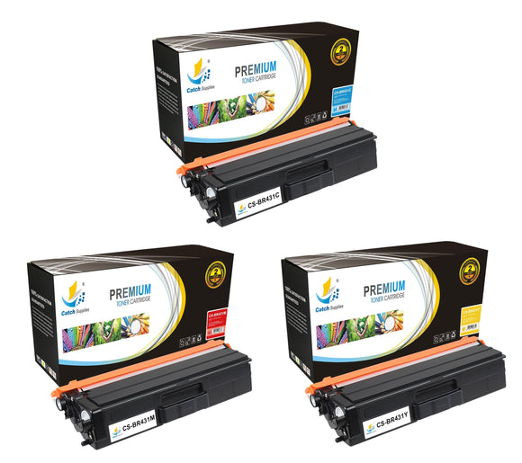 Catch Supplies Replacement Brother TN431C, TN431M, TN431Y Standard Yield Laser Printer Toner Cartridges - Three Pack