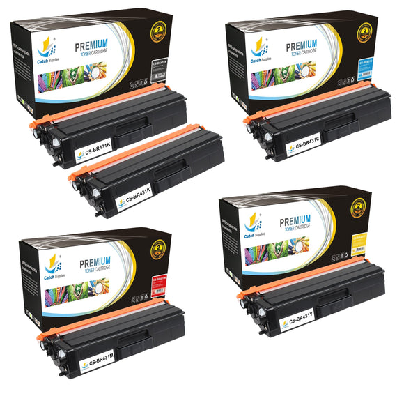Catch Supplies Replacement Brother TN431K, TN431C, TN431M, TN431Y Standard Yield Laser Printer Toner Cartridges - Five Pack