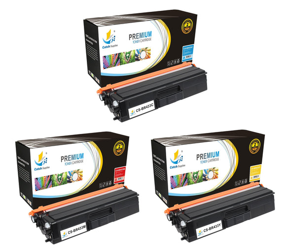 Catch Supplies Replacement Brother TN433C, TN433M, TN433Y Standard Yield Laser Printer Toner Cartridges - Three Pack