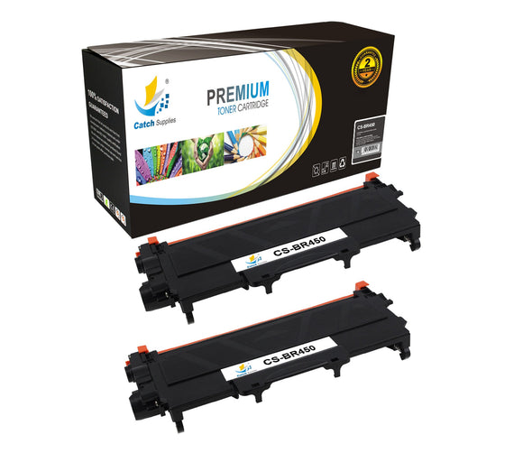 Catch Supplies Replacement Brother TN-450 Standard Yield Laser Printer Toner Cartridges - Two Pack