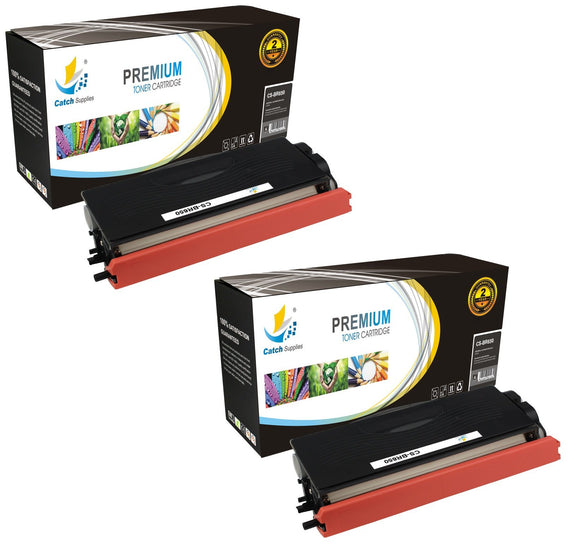 Catch Supplies Replacement Brother TN-650 Standard Yield Laser Printer Toner Cartridges - Two Pack