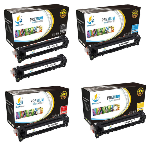 Catch Supplies Replacement Canon 6273B001AA,6271B001AA,6270B001AA,6269B001AA Standard Yield Laser Printer Toner Cartridges - Five Pack