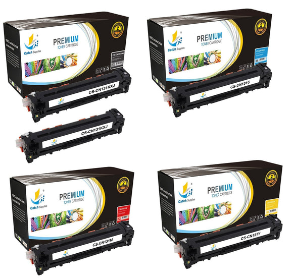 Catch Supplies Replacement Canon 6273B001AA,6271B001AA,6270B001AA,6269B001AA High Yield Toner Cartridges Laser Printer Toner Cartridges - Five Pack