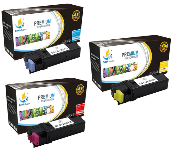 Catch Supplies Replacement Dell 331-0716,331-0717,331-0718 Standard Yield Laser Printer Toner Cartridges - Three Pack