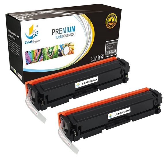 Catch Supplies Replacement HP CF400A Standard Yield Laser Printer Toner Cartridges - Two Pack