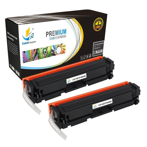 Catch Supplies Replacement HP CF400X High Yield Black Toner Cartridge Laser Printer Toner Cartridges - Two Pack