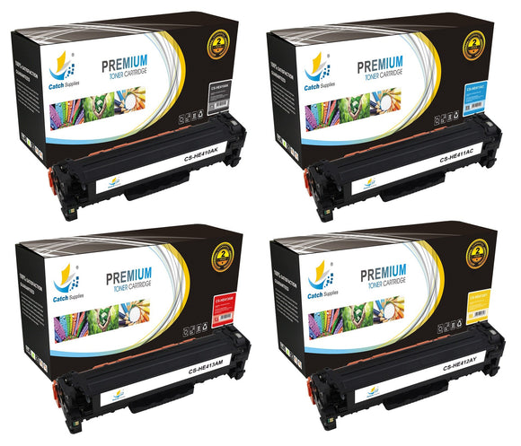 Catch Supplies Replacement HP CE410A,CE411A,CE412A,CE413A Standard Yield Laser Printer Toner Cartridges - Four Pack