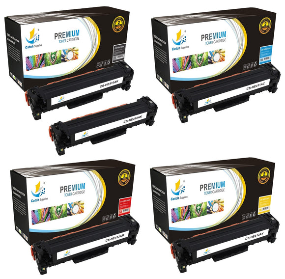Catch Supplies Replacement HP CE410A,CE411A,CE412A,CE413A Standard Yield Laser Printer Toner Cartridges - Five Pack