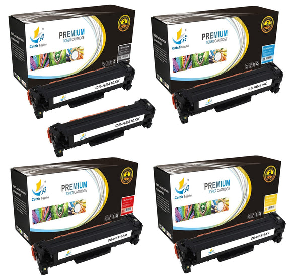 Catch Supplies Replacement HP CE410X,CE411A,CE412A,CE413A High Yield Toner Cartridges Laser Printer Toner Cartridges - Five Pack
