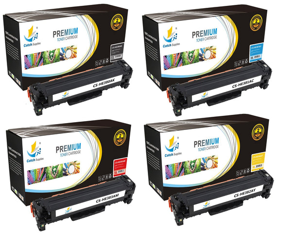 Catch Supplies Replacement HP CF380A,CF381A,CF382A,CF383A Standard Yield Laser Printer Toner Cartridges - Four Pack