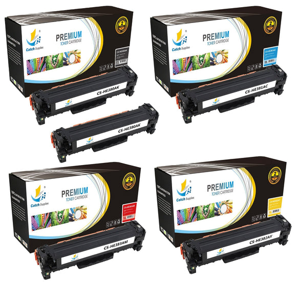 Catch Supplies Replacement HP CF380A,CF381A,CF382A,CF383A Standard Yield Laser Printer Toner Cartridges - Five Pack