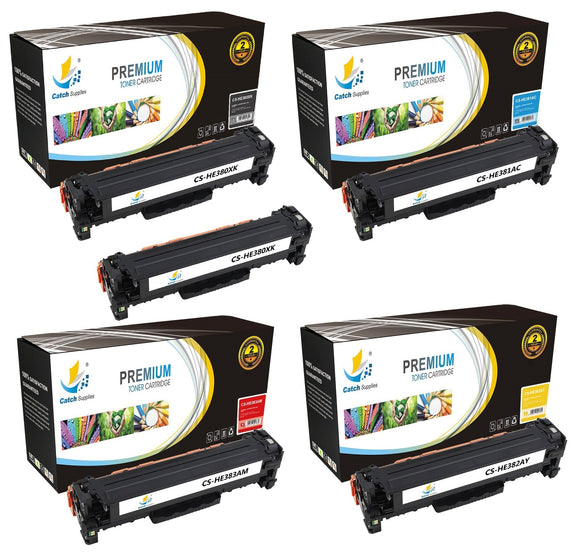 Catch Supplies Replacement HP CF380X,CF381A,CF382A,CF383A High Yield Toner Cartridges Laser Printer Toner Cartridges - Five Pack
