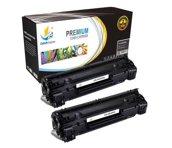 Catch Supplies Replacement CB435A Black Toner Cartridge 2 Pack