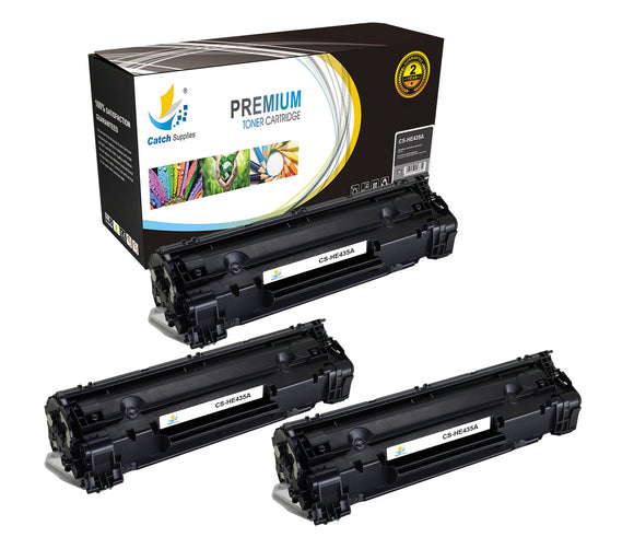 Catch Supplies Replacement CB435A Black Toner Cartridge 3 Pack