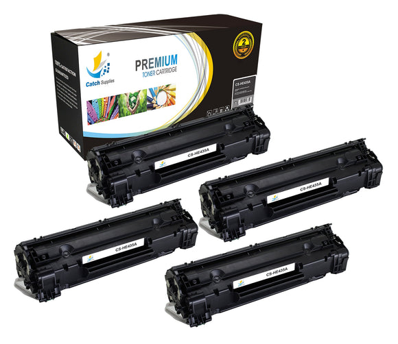 Catch Supplies Replacement CB435A Black Toner Cartridge 4 Pack