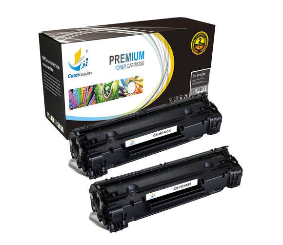 Catch Supplies Replacement CB435X Black Toner Cartridge 2 Pack