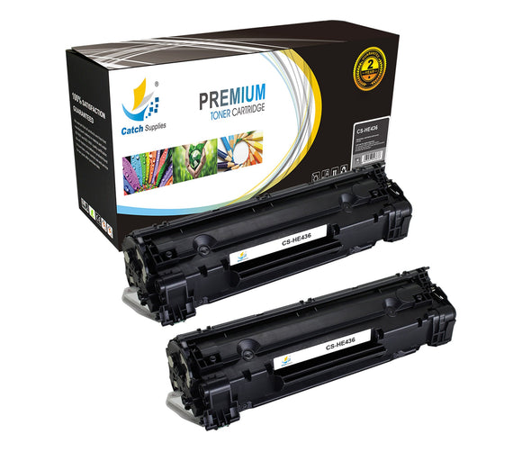 Catch Supplies Replacement HP CB436A Standard Yield Laser Printer Toner Cartridges - Two Pack