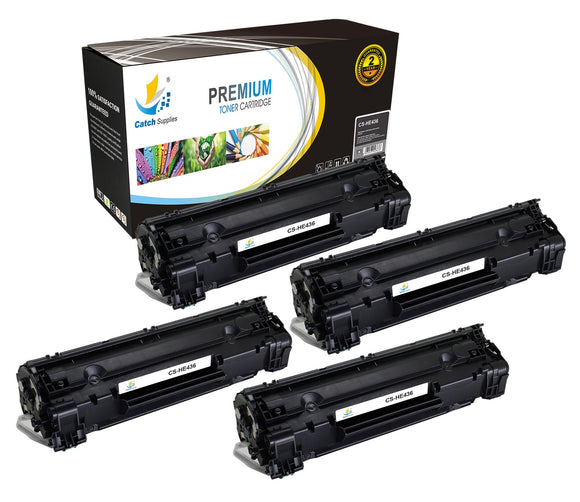Catch Supplies Replacement HP CB436A Standard Yield Laser Printer Toner Cartridges - Four Pack