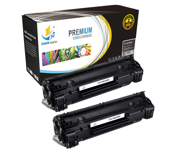 Catch Supplies Replacement HP CB436X High Yield Black Toner Cartridge Laser Printer Toner Cartridges - Two Pack